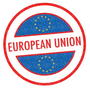 Passport-style EUROPEAN UNION rubber stamp over a white background.